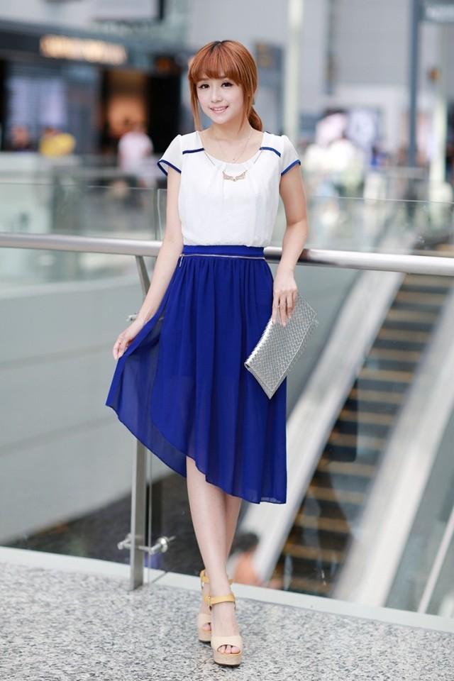 2014新款春装春夏季韩版高腰修身显瘦时尚两穿泡泡袖雪纺连衣裙