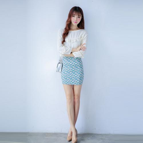 2015春新款韩国代购复古碎花OL修身高腰一步短裙包臀裙半身裙