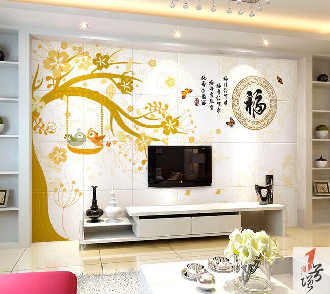 爱情鸟福字瓷砖背景墙