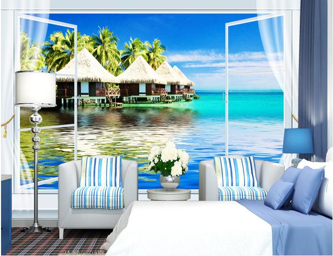 马尔代夫风景现代3D背景墙